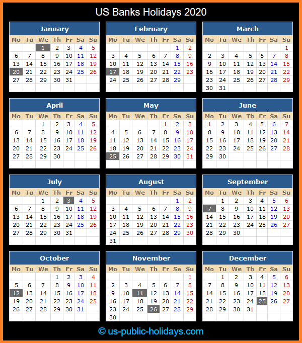 US Banks Holiday Calendar 2020