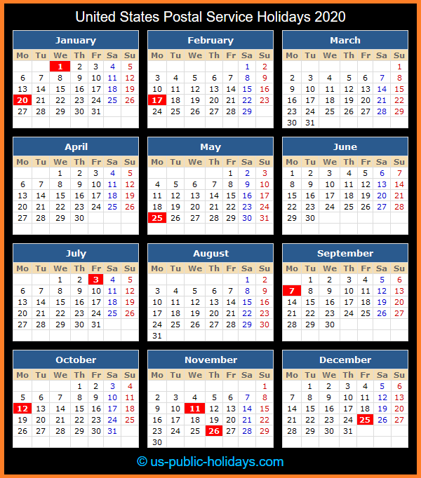 Usps Holidays 2021 Calendar United States Postal Service Holidays 2020