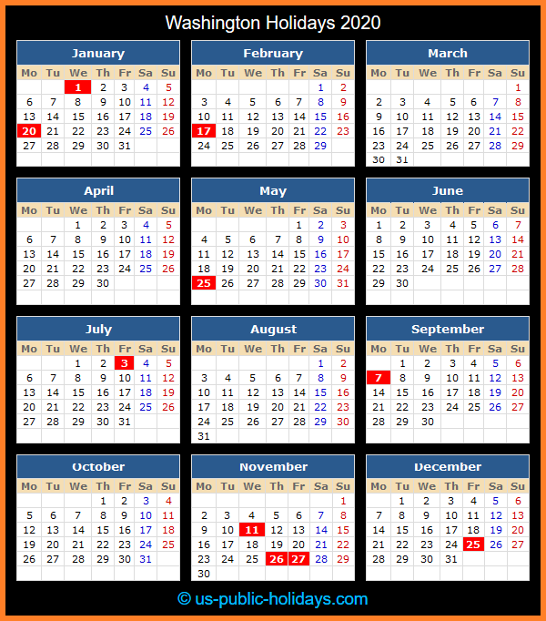 Washington Holiday Calendar 2020