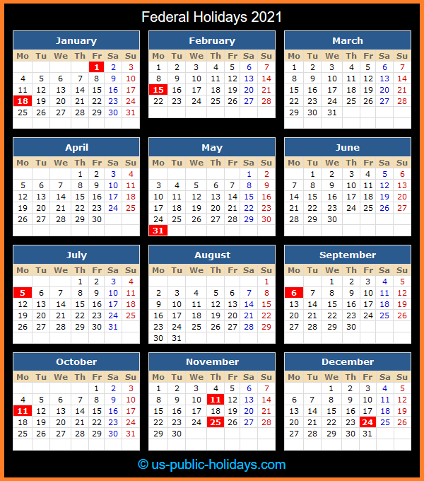 Federal Holiday Calendar 2021