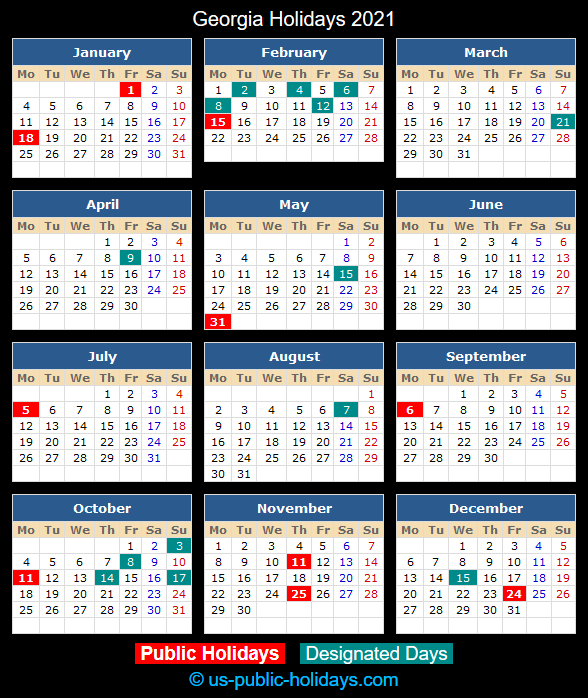 Georgia Holiday Calendar 2021