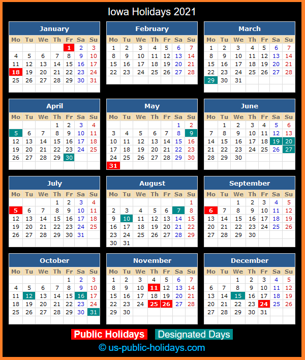 Iowa Holiday Calendar 2021