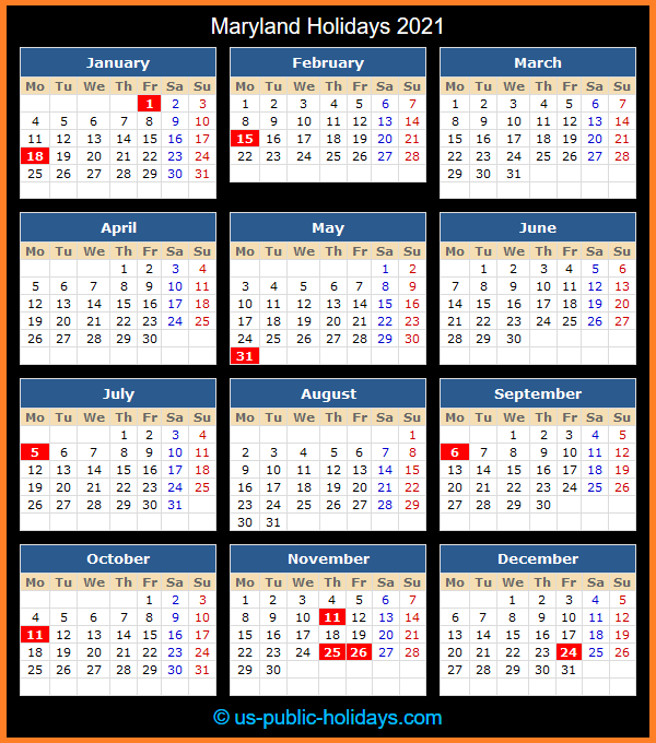 Maryland Holiday Calendar 2021