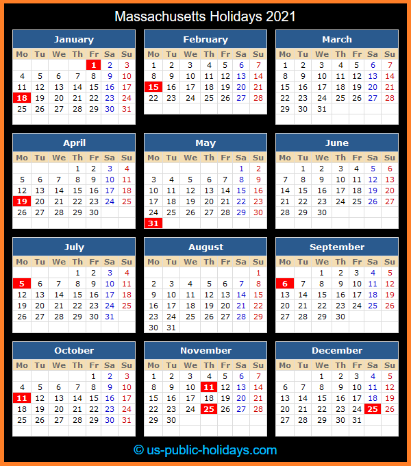 Massachusetts Holiday Calendar 2021
