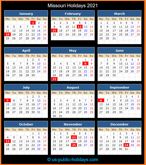 Missouri Holiday Calendar 2021