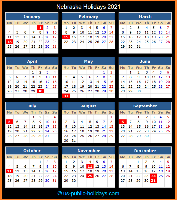 Nebraska Holidays 2021