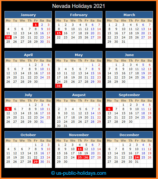 Nevada Holiday Calendar 2021
