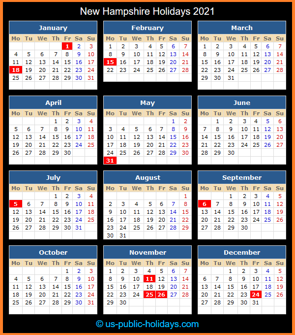 New Hampshire Holiday Calendar 2021
