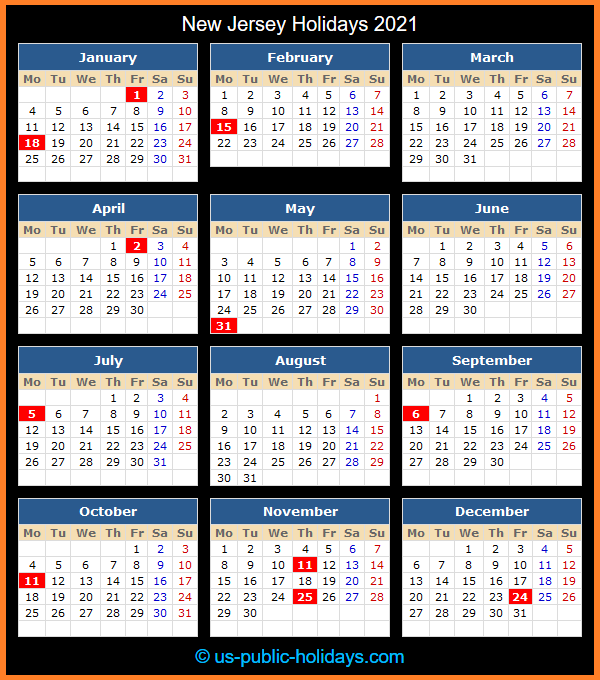 New Jersey Holiday Calendar 2021